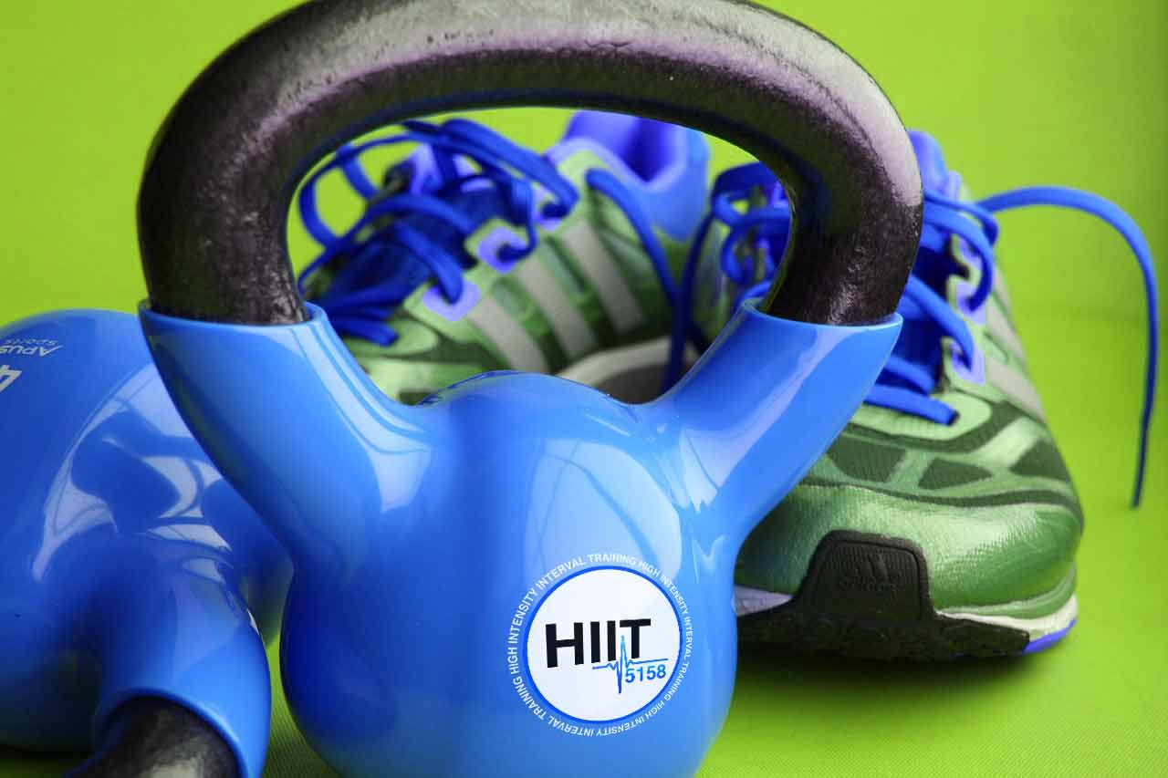 Kettle Weights, HIIT 5158 Logo and gym shoes